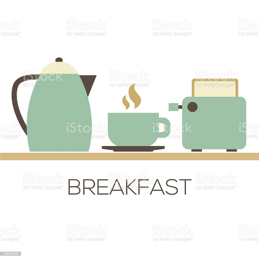Hot Coffee With Kettle And Toaster For Breakfast vector art illustration