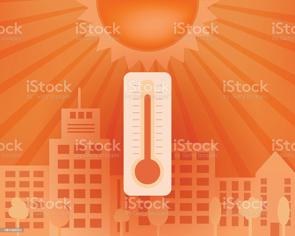 Hot day in the city with thermometer. Vector summer concept. vector art illustration