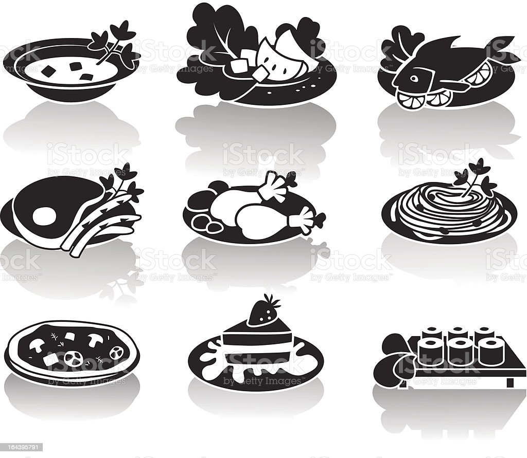 Hot dishes, desserts, sushi, salads and soups royalty-free stock vector art