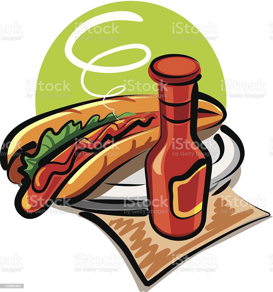 hot dog and ketchup royalty-free stock vector art