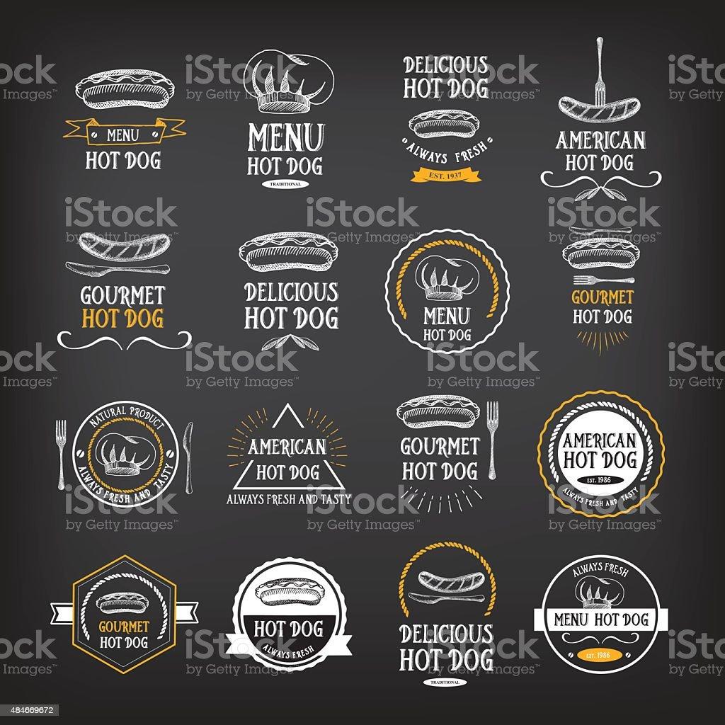Hot dog badges and menu design elements. vector art illustration