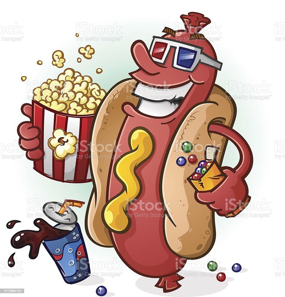 Hot Dog Cartoon At the Movies vector art illustration