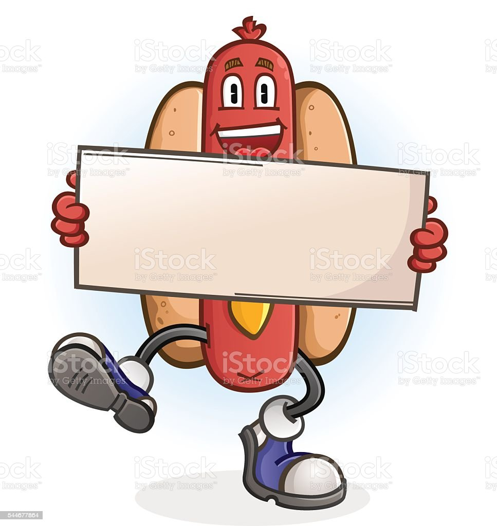 Hot Dog Cartoon Character Holding a Sign vector art illustration