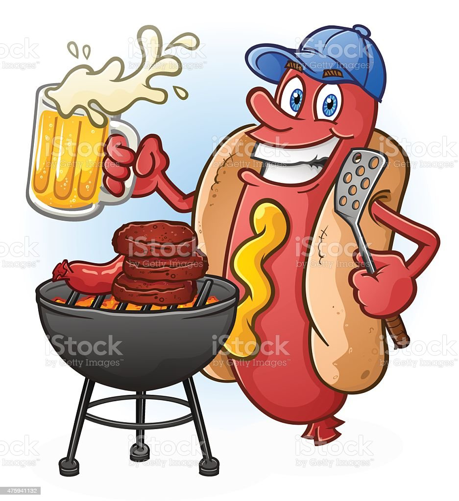 Hot Dog Cartoon Tailgating with Beer and BBQ Cartoon Character vector art illustration