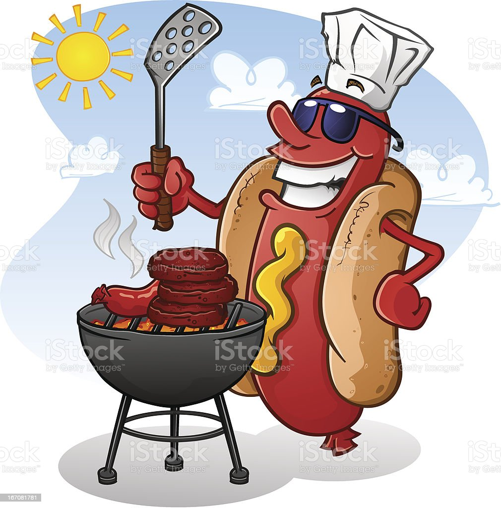 Hot Dog Cartoon Wearing Sunglasses and Grilling vector art illustration