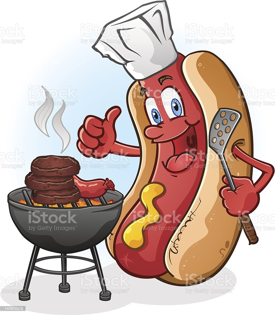 Hot Dog Character Grilling Burgers royalty-free stock vector art