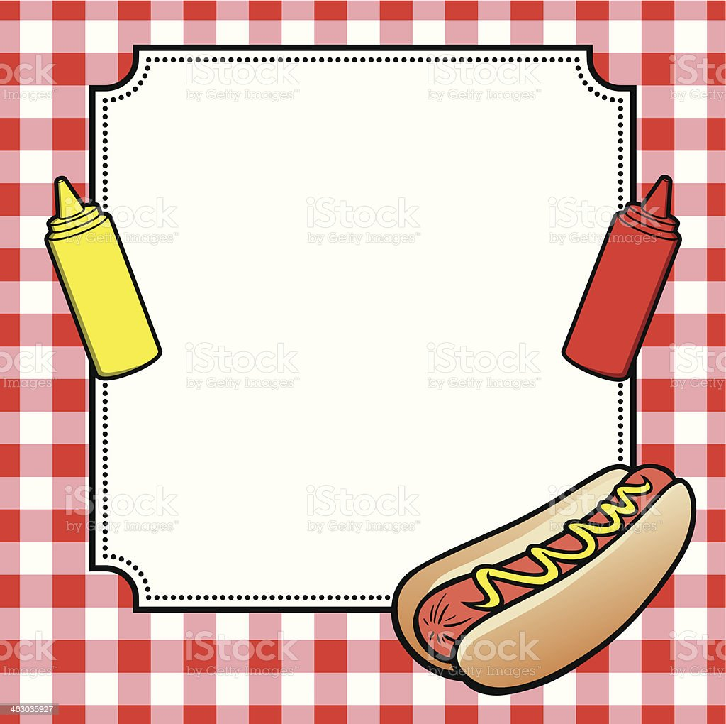 Cookout border clipart hot dog cookout invite stock vector art - Hot Dog Cookout Invite Royalty Free Stock Vector Art