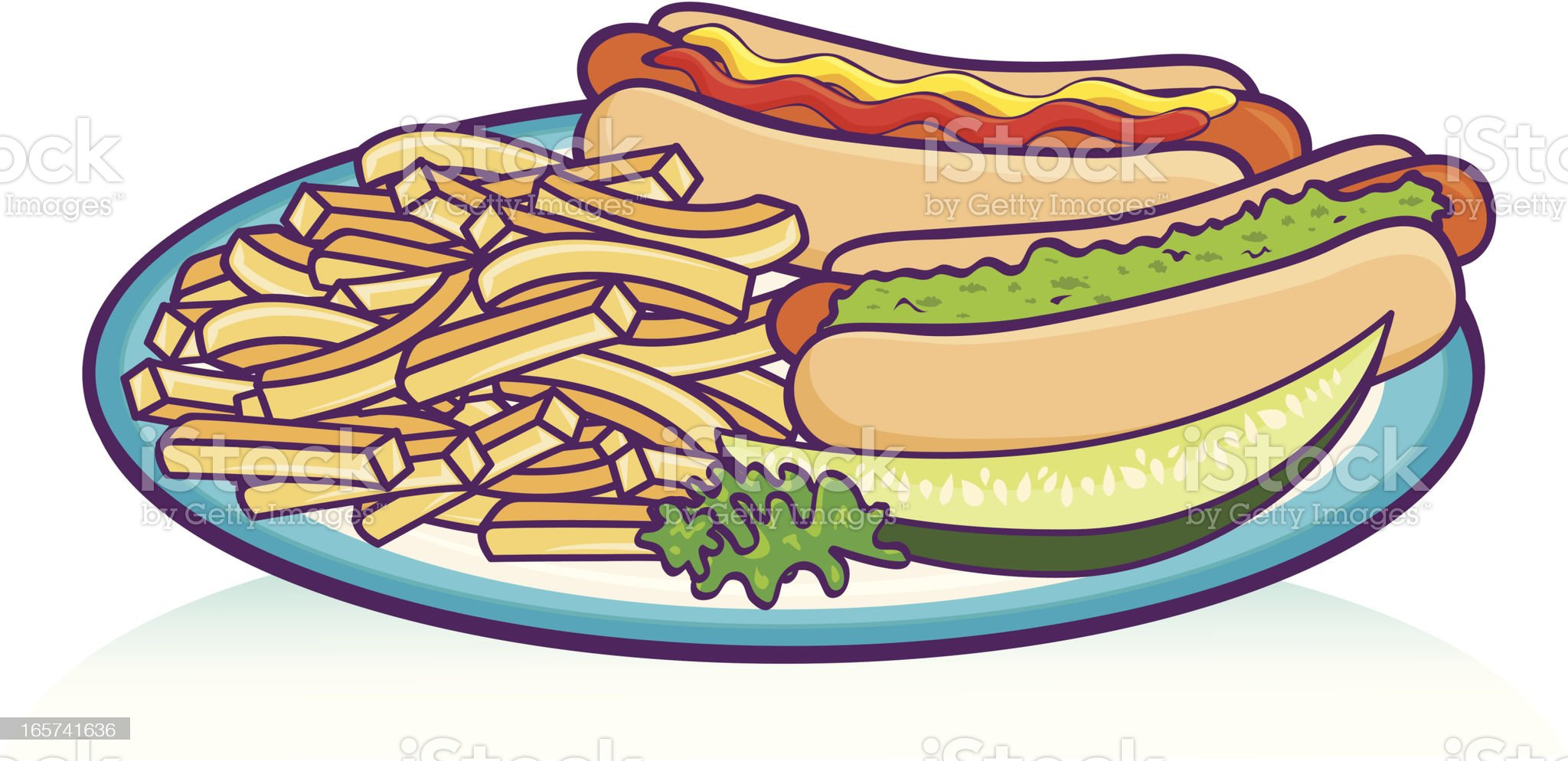 Hot Dog lunch plate royalty-free stock vector art