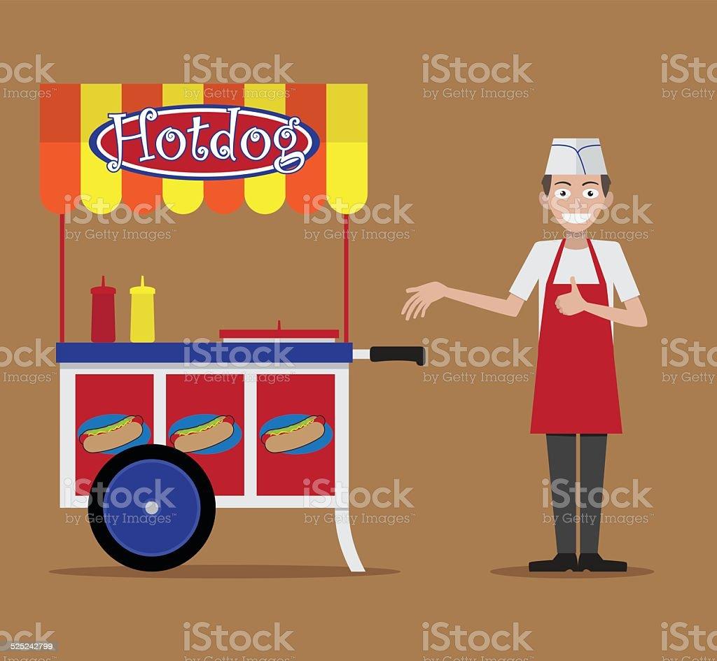 Hot Dog Stand vector art illustration