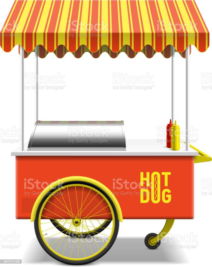 Hot dog, street cart vector art illustration
