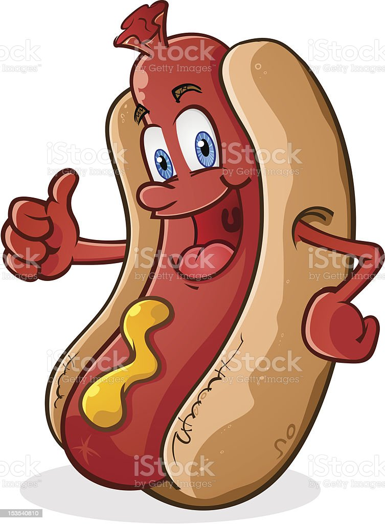 Hot Dog Thumbs Up vector art illustration