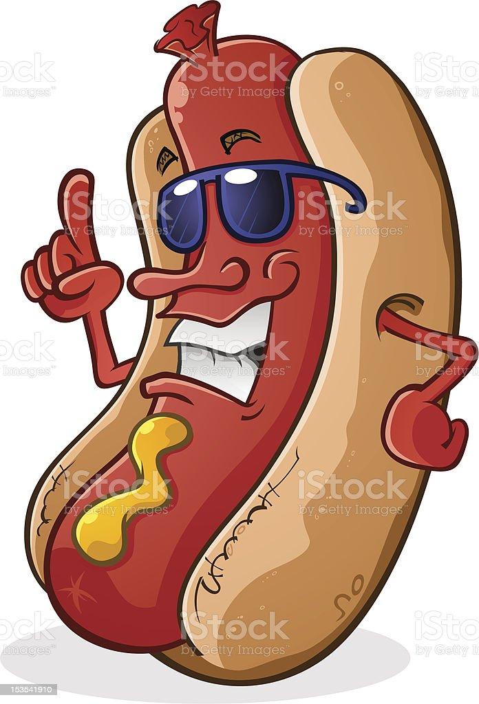 Hot Dog wearing Sunglasses vector art illustration