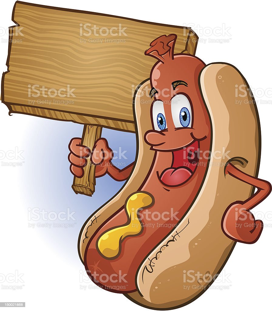 Hot Dog With Sign vector art illustration
