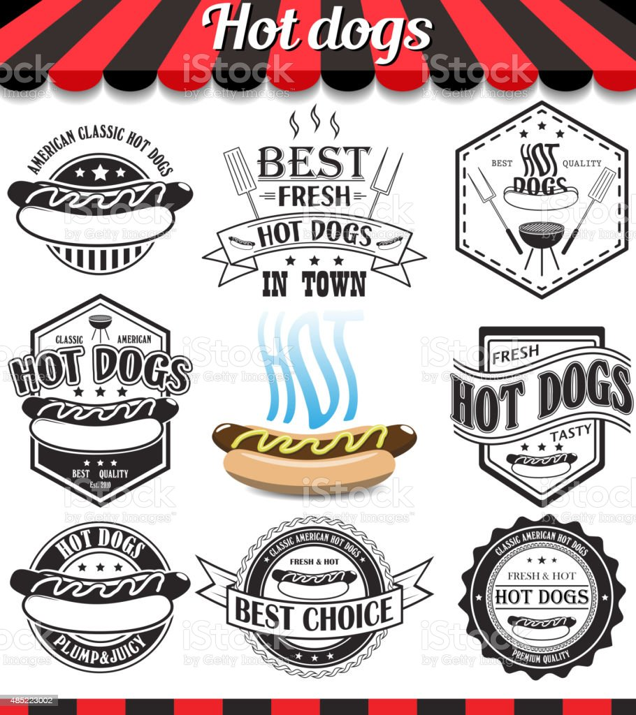 Hot dogs collection of vector signs, symbols and icons. vector art illustration