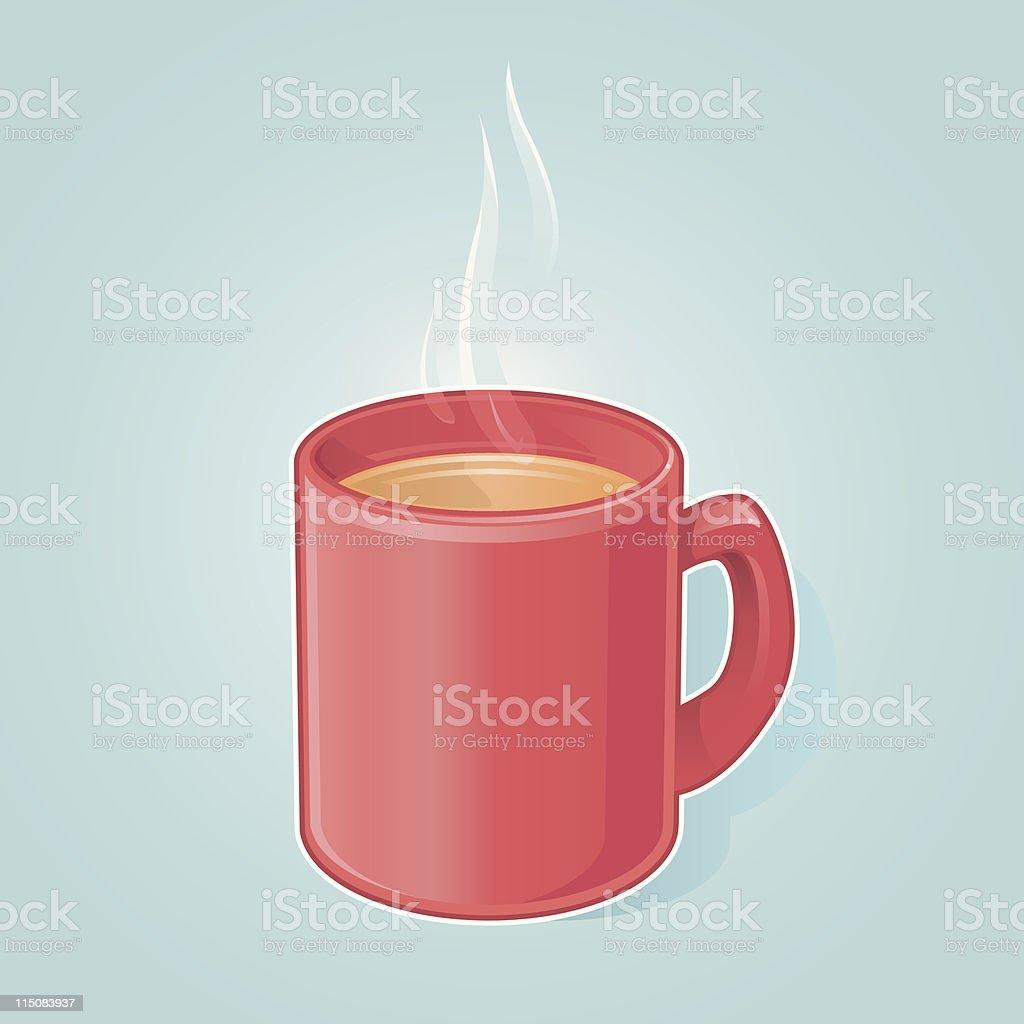 Hot Drink in Red Mug royalty-free stock vector art
