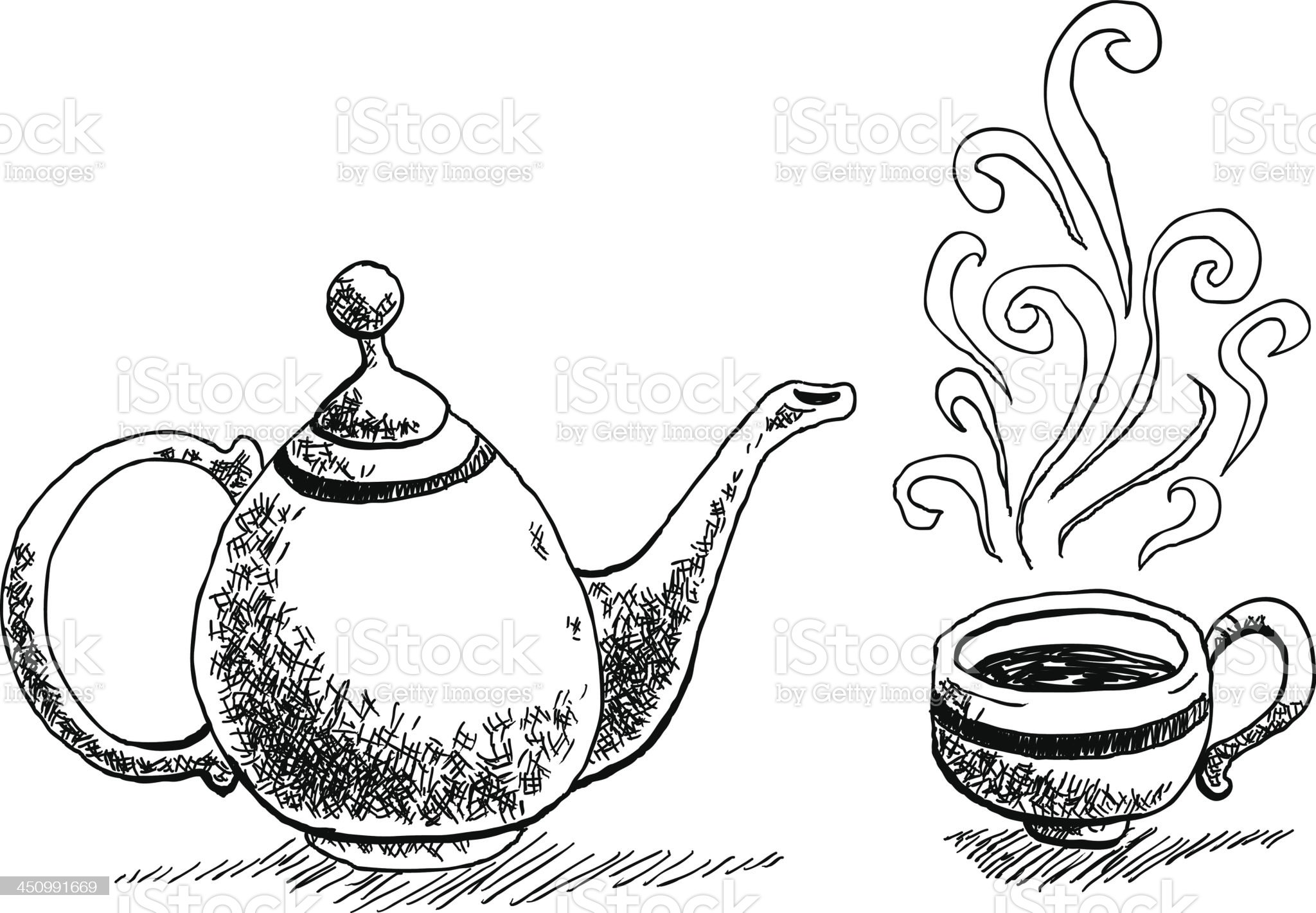 Hot drink sketch drawing royalty-free stock vector art