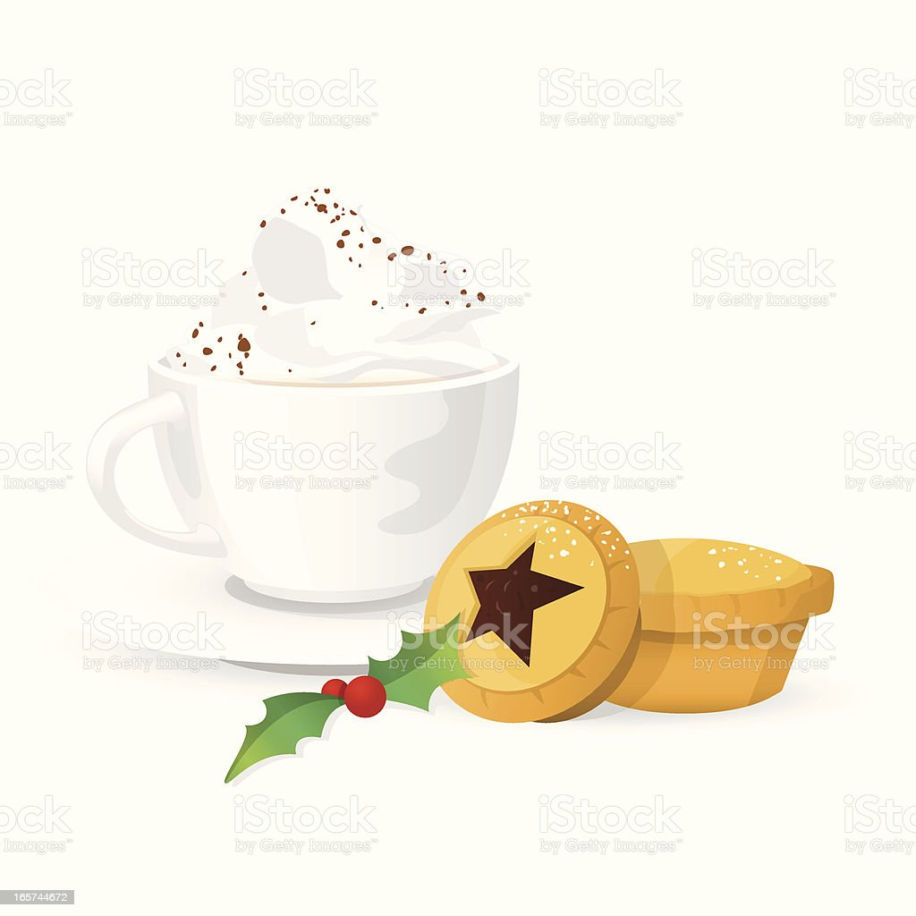 Hot Drink with Cream & Christmas Mince Pies royalty-free stock vector art