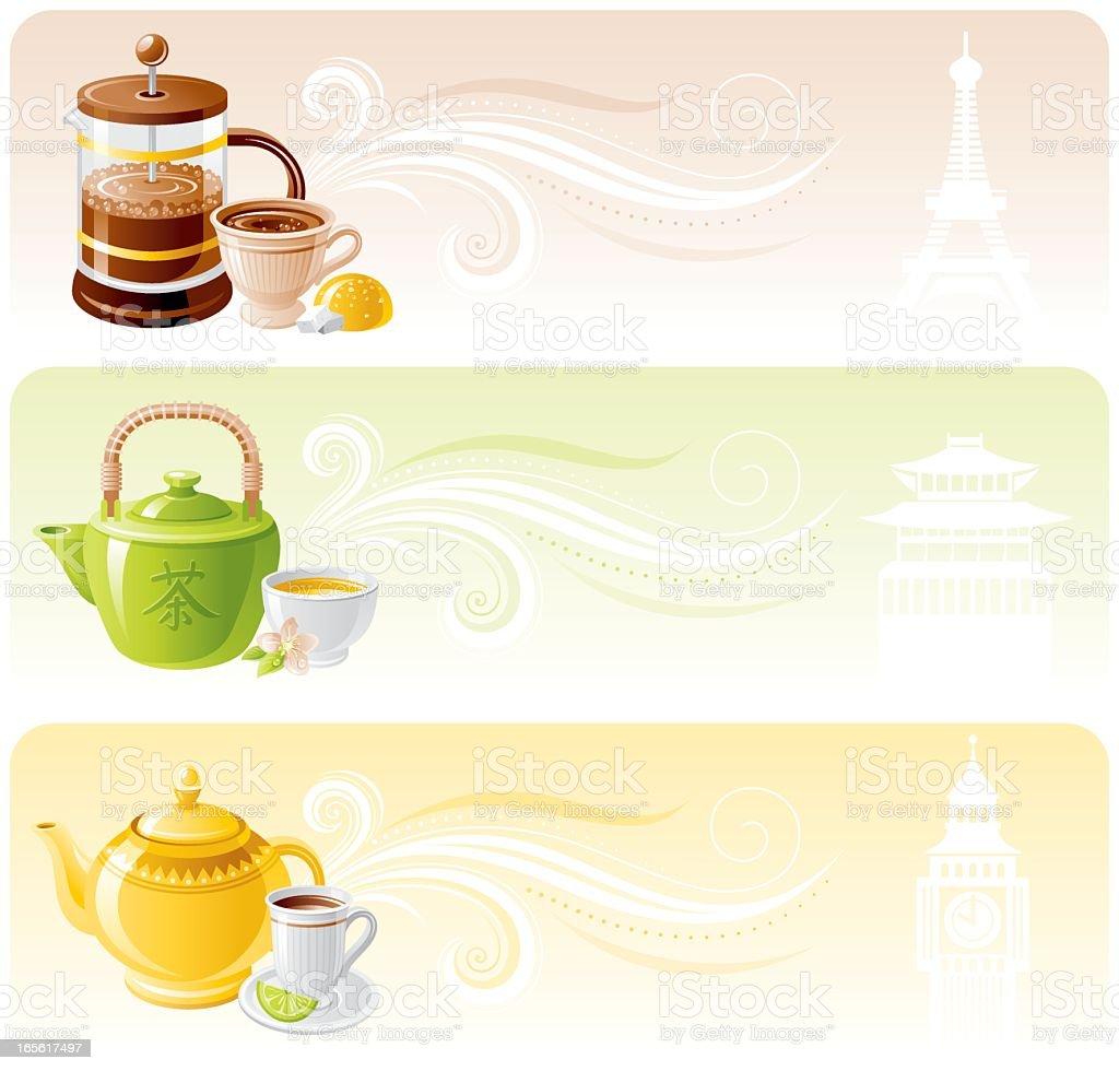 Hot drinks banner set vector art illustration