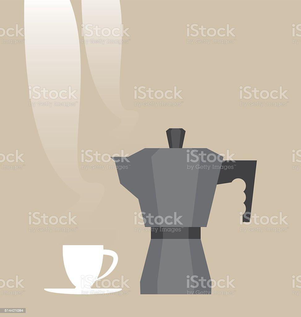 Hot espresso coffee set vector art illustration