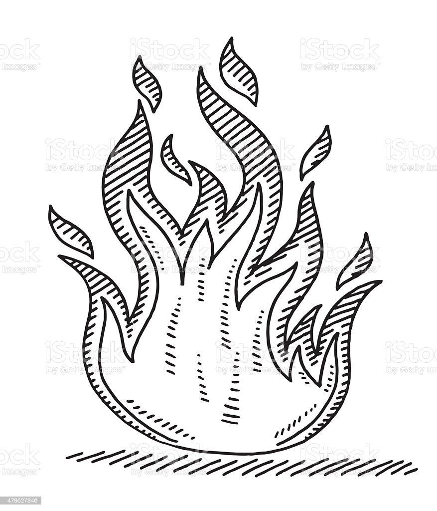 Hot Fire Symbol Drawing vector art illustration
