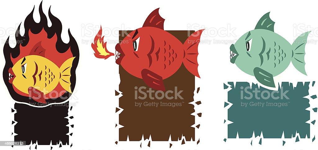Hot fish cartoon royalty-free stock vector art