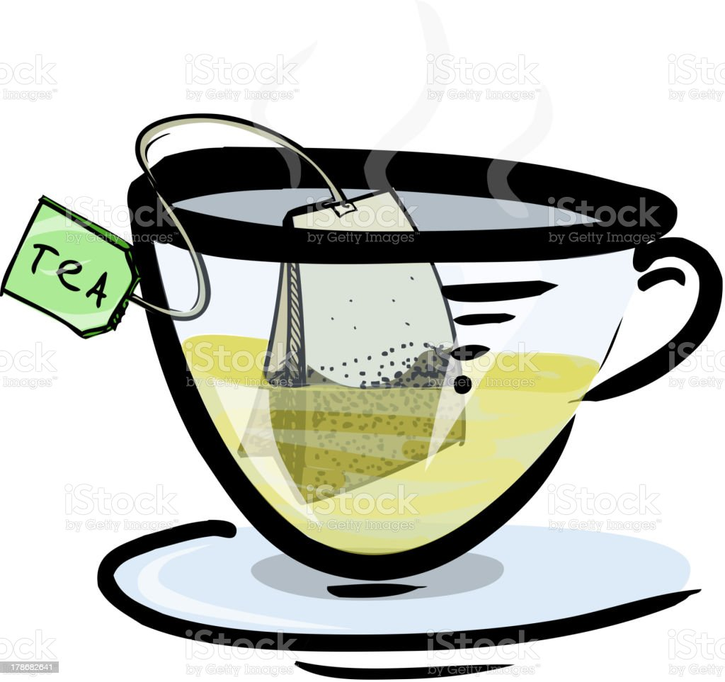 Hot green tea in a glass cup royalty-free stock vector art