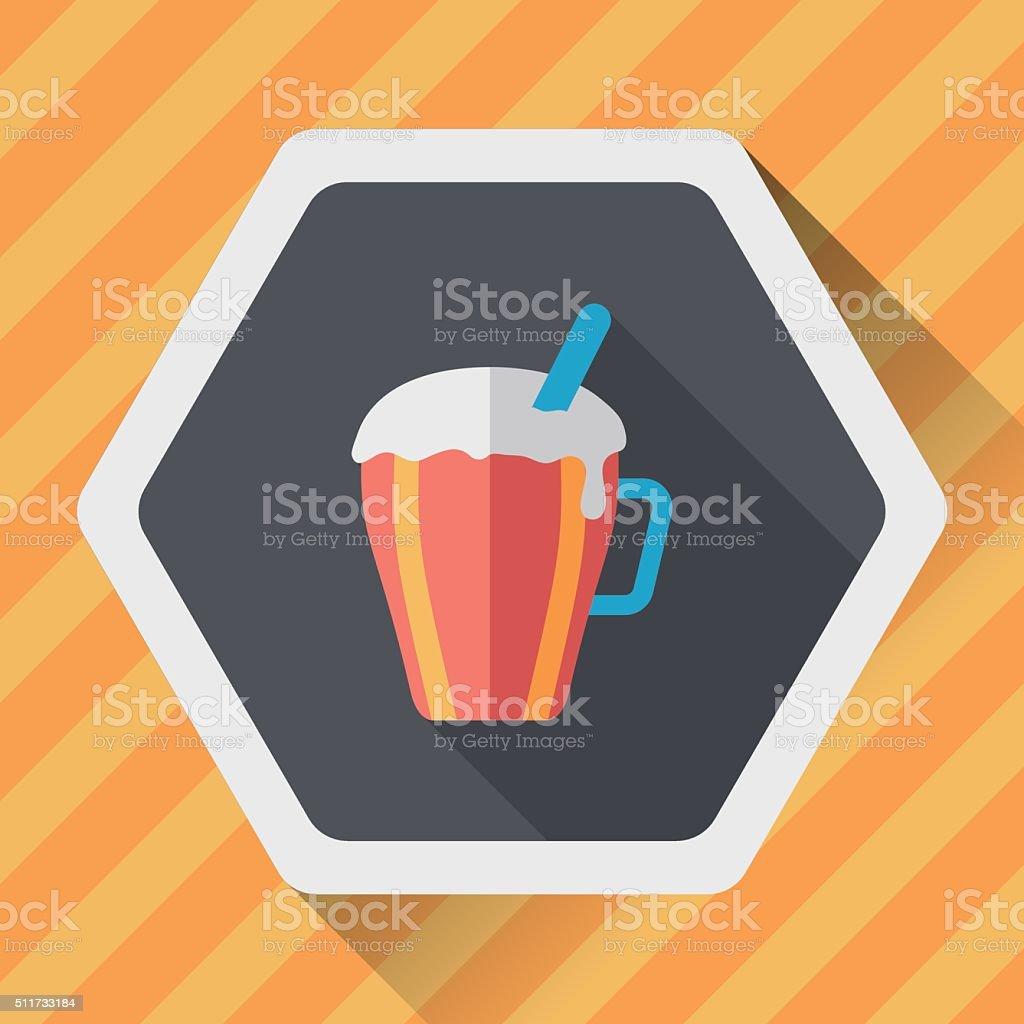 hot milk cream coffee flat icon with long shadow,eps10 vector art illustration