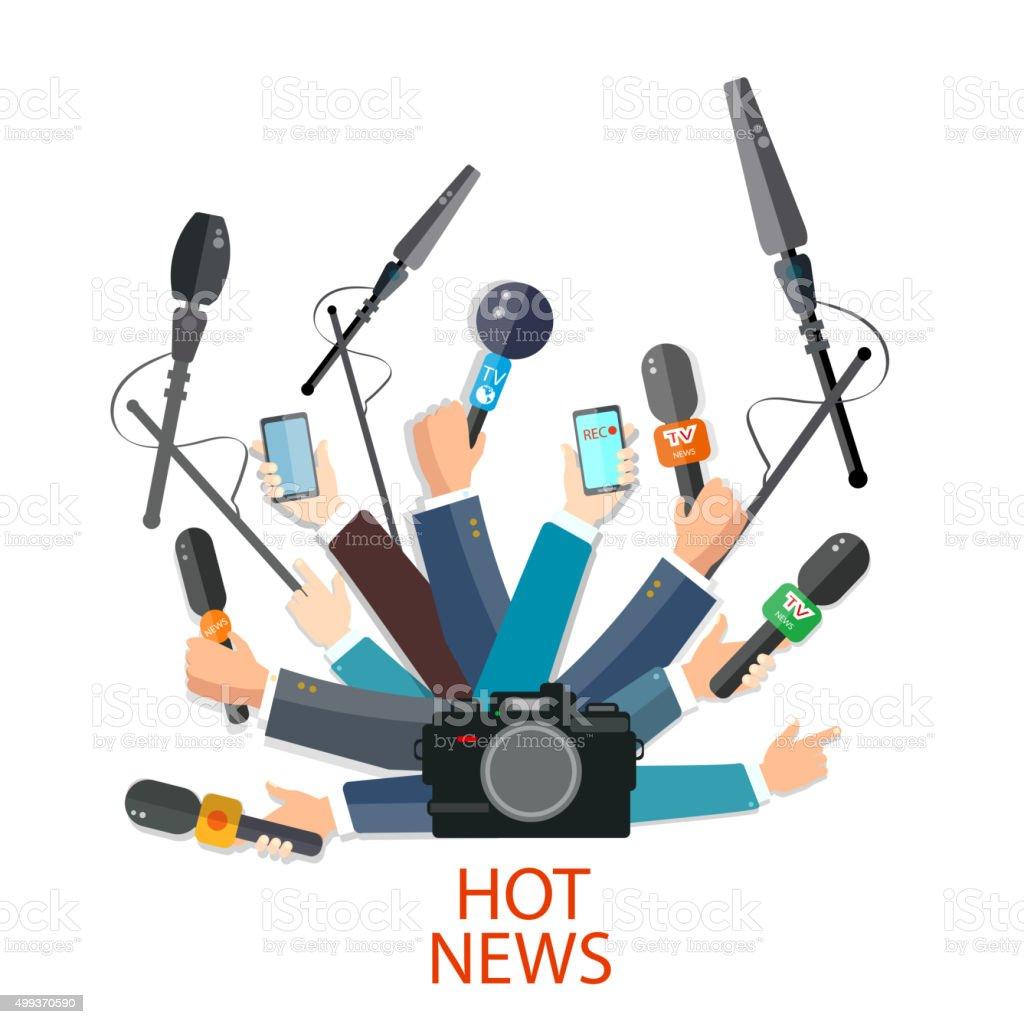 Hot news concept hands holding microphones vector art illustration