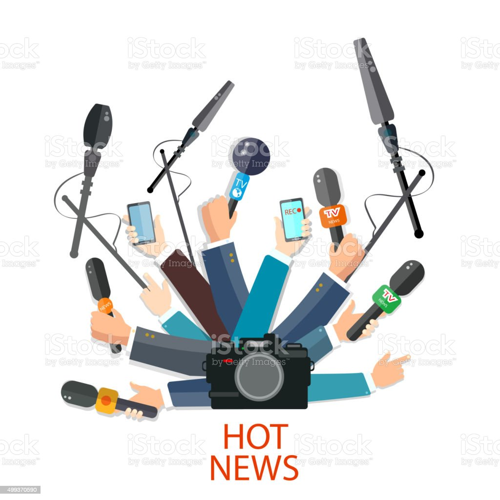 Hot news concept hands holding microphones vector art illustration