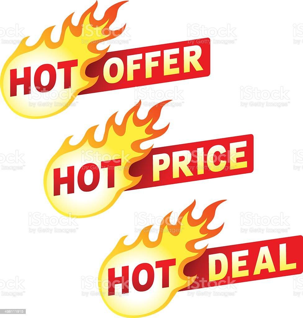 Hot offer, price and deal flame sticker badges vector art illustration