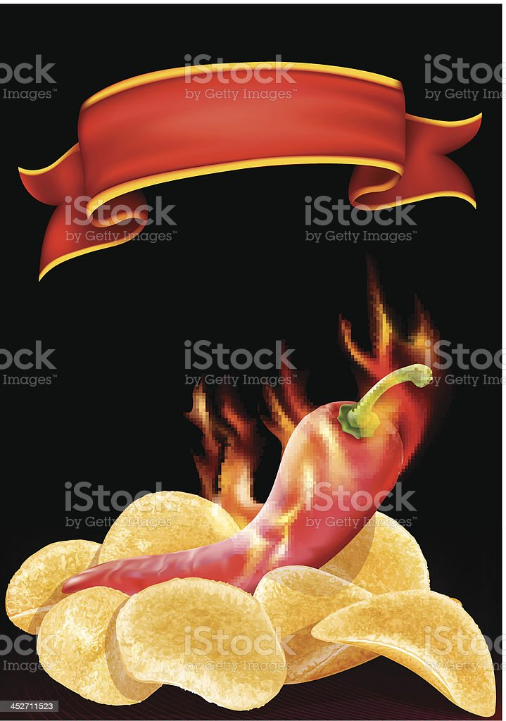 hot pepper and chips vector art illustration