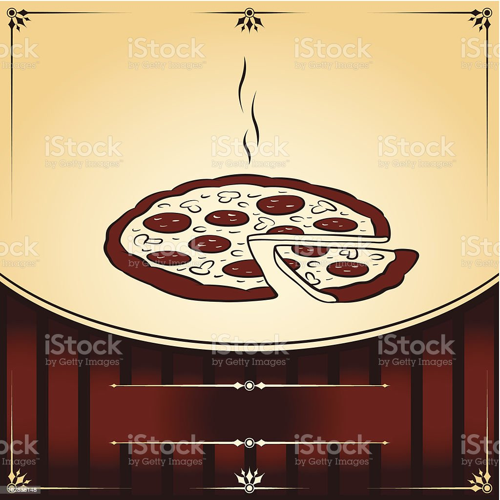 Hot Pizza. Vector graphic Illustration with place for text royalty-free stock vector art