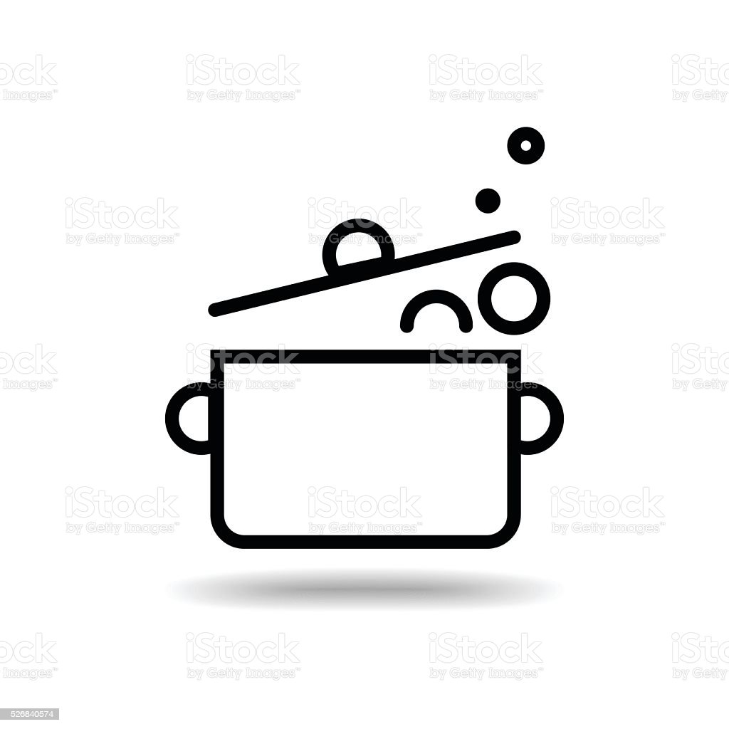 hot pot flat icon isolate on white background vector art illustration