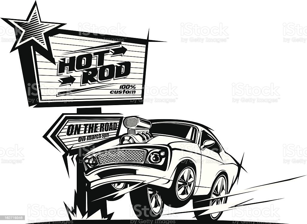 Hot rod car on the road black and white vector art illustration