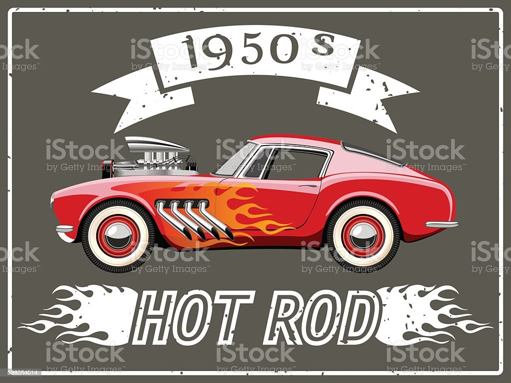 Hot rod car vector art illustration