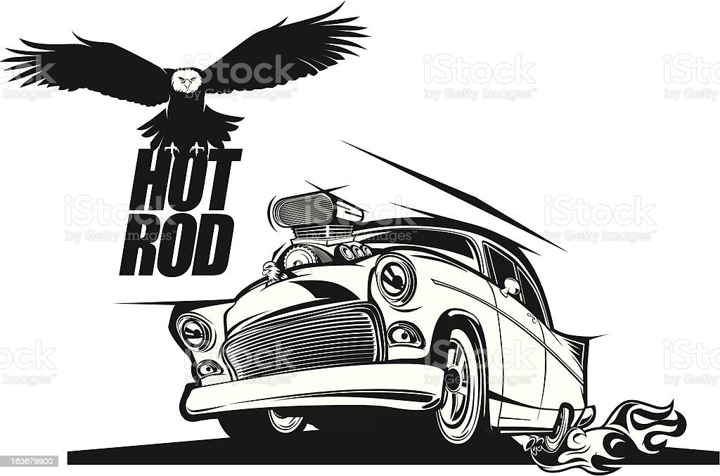 Hot rod classic car with flying eagle black and white vector art illustration