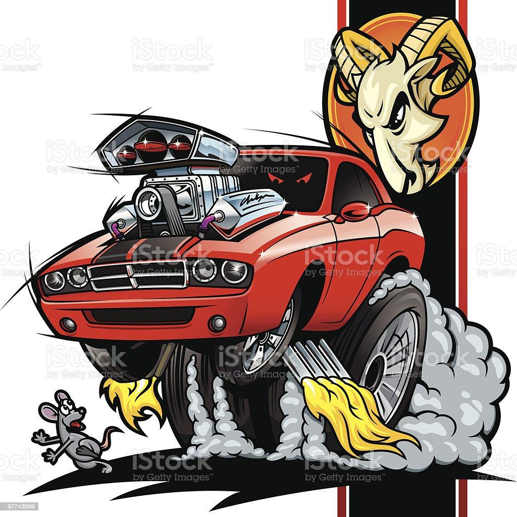 Hot Rod Dodge Challenger royalty-free stock vector art