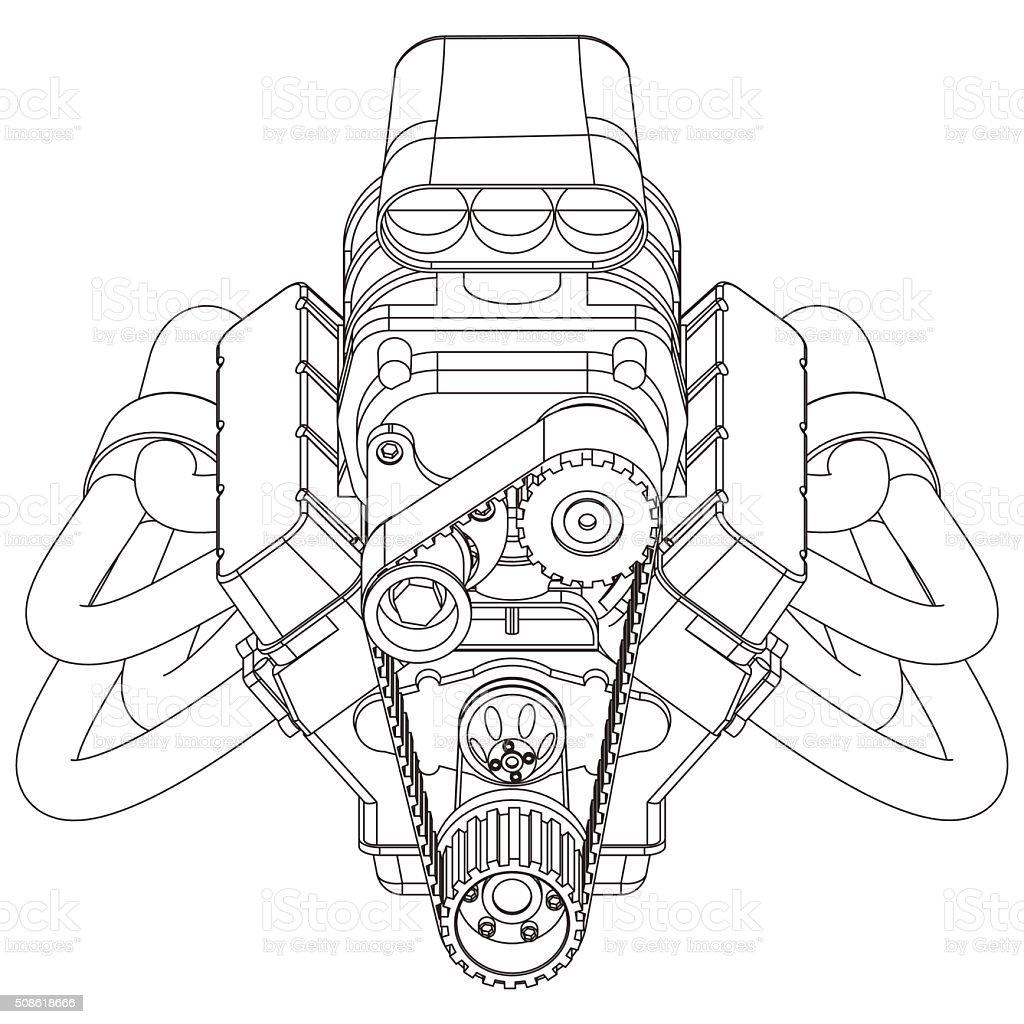 Hot Rod Engine vector art illustration