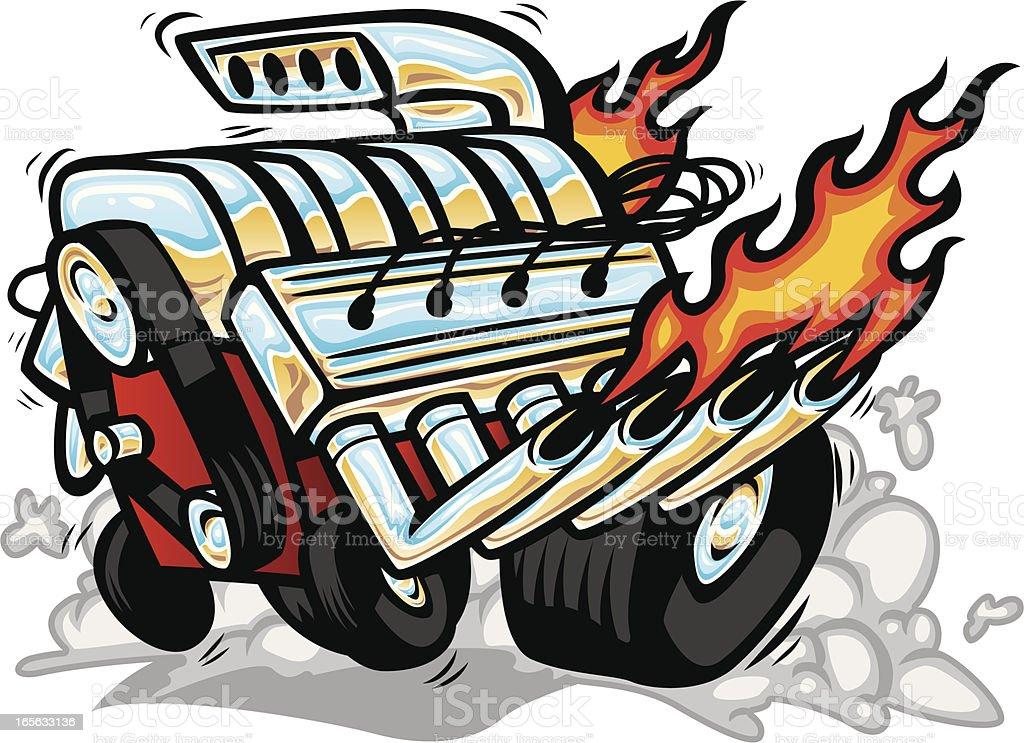 hot rod motor royalty-free stock vector art