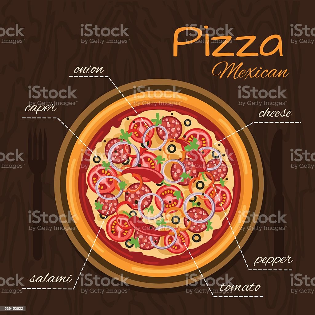 Hot round pizza vector art illustration
