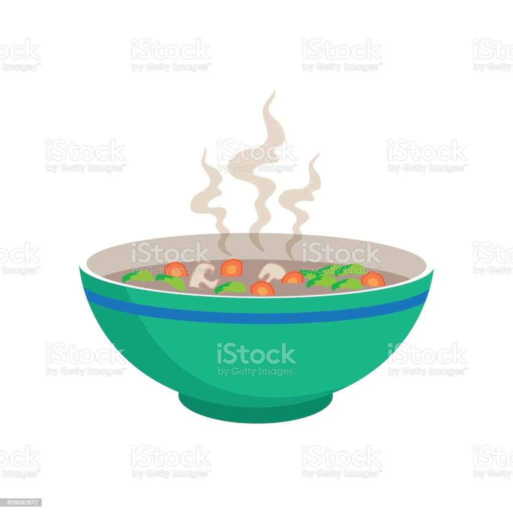 hot sausage soup with vegetable and mushroom in chinese bowl and spoons vector art illustration