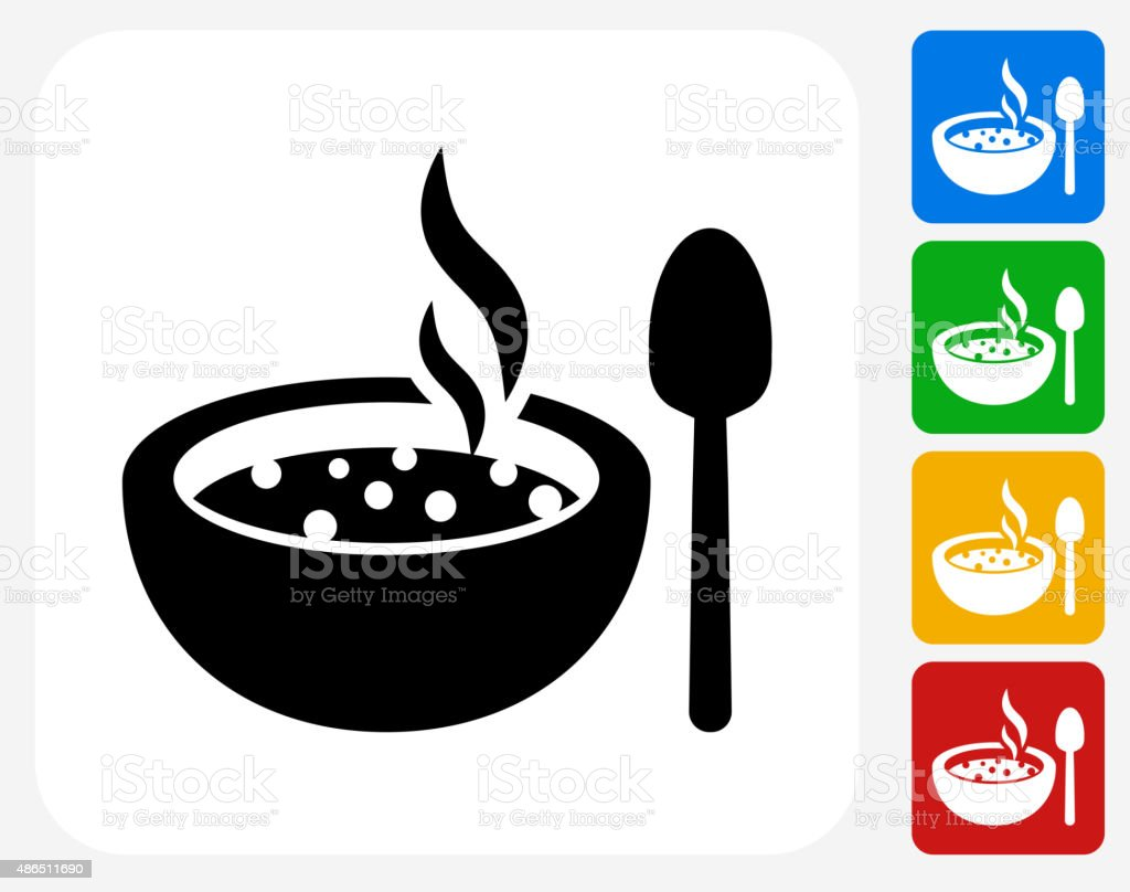 Hot Soup Icon Flat Graphic Design vector art illustration