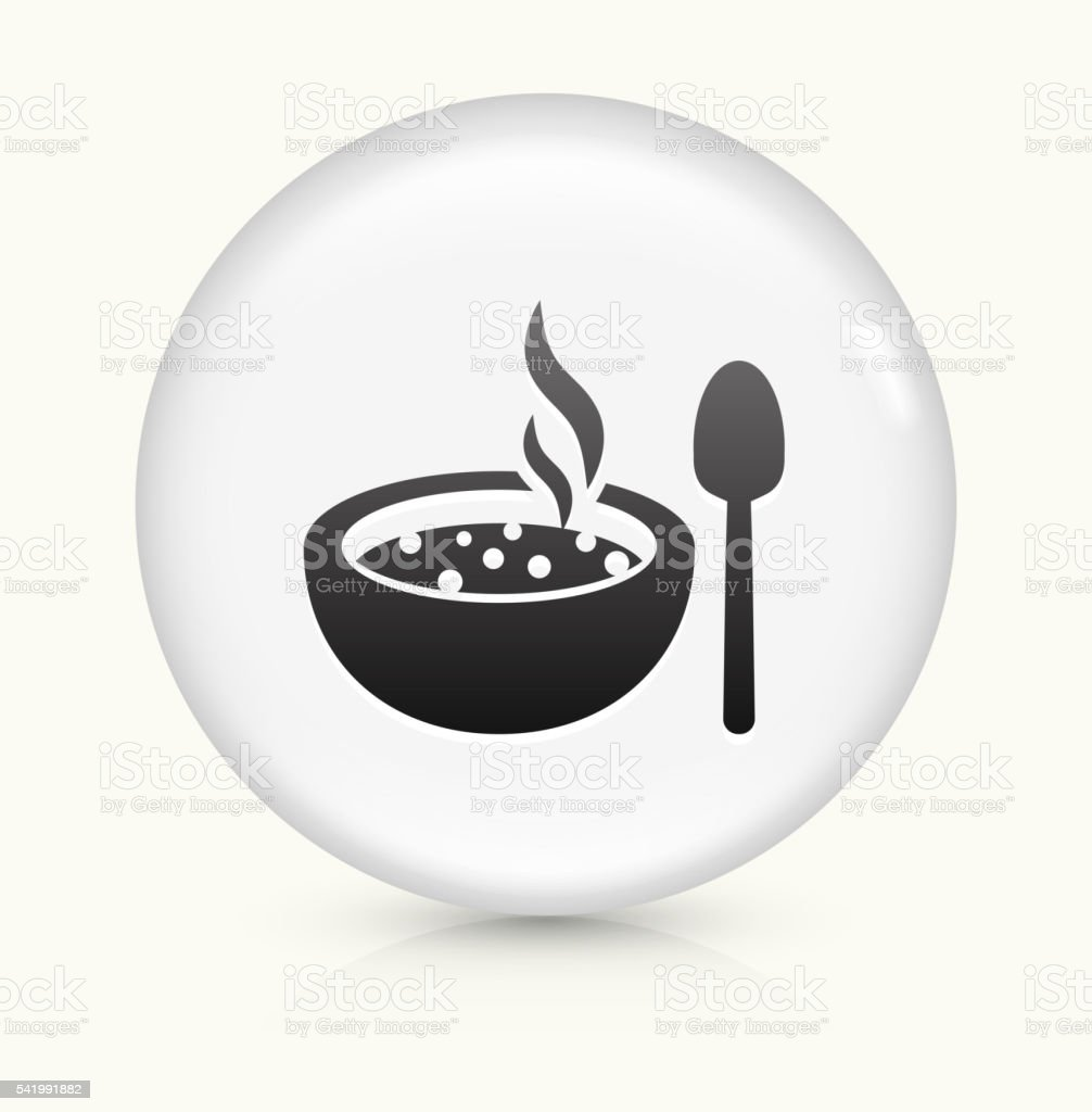 Hot Soup icon on white round vector button vector art illustration