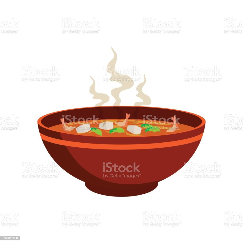 hot spicy soup with vegetable and prawn in chinese bowl and smoke effect vector art illustration
