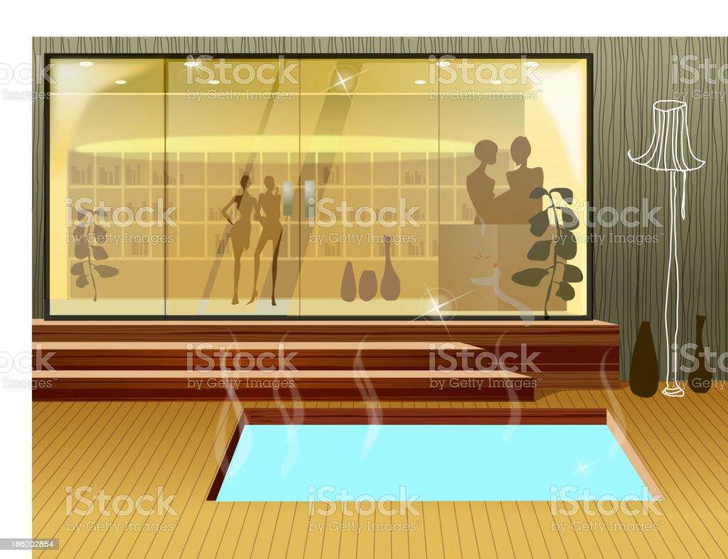 Hot spring tub royalty-free stock vector art