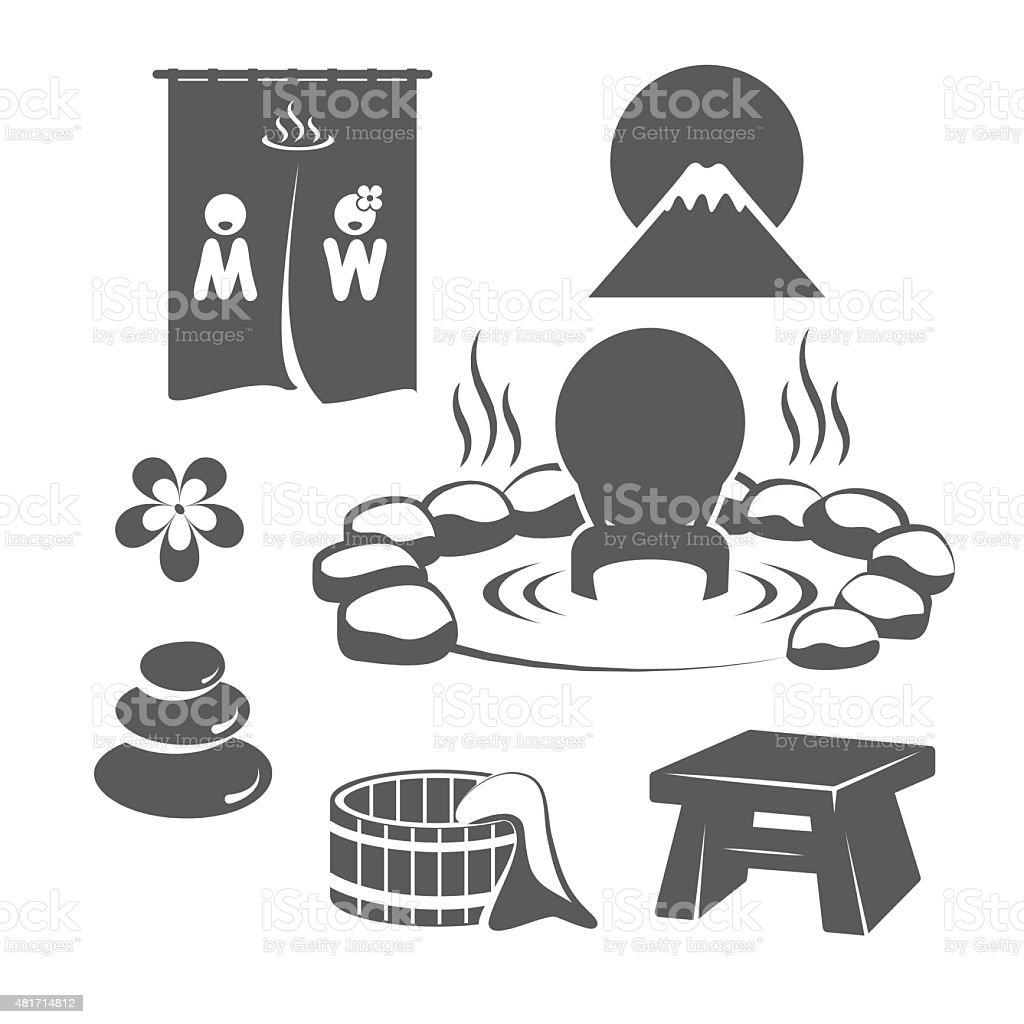 Hot Springs Set vector art illustration
