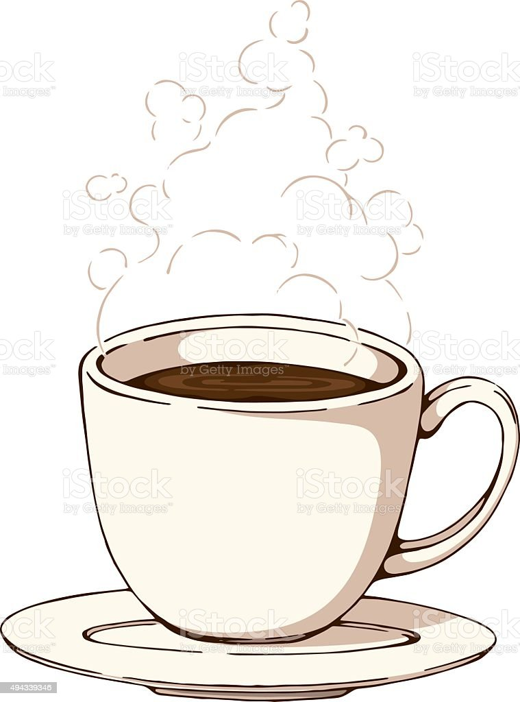 Hot Steaming Coffee vector art illustration