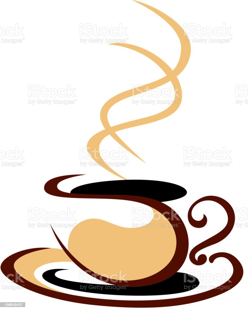 Hot steaming cup of coffee royalty-free stock vector art
