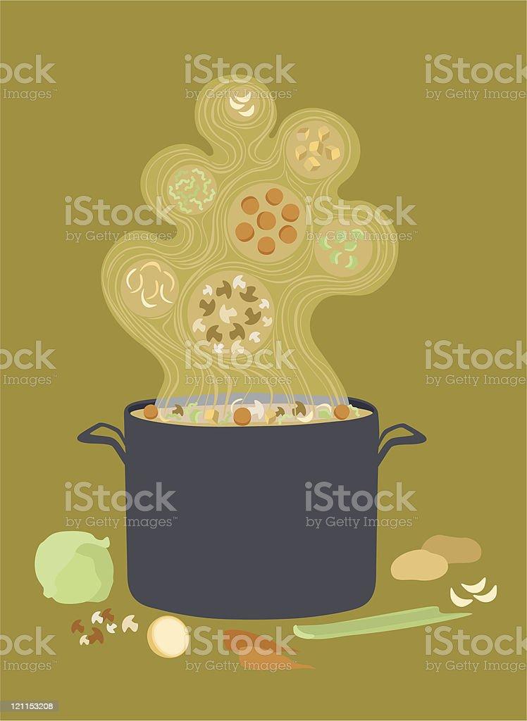 Hot Steaming Pot of Vegetable Soup vector art illustration