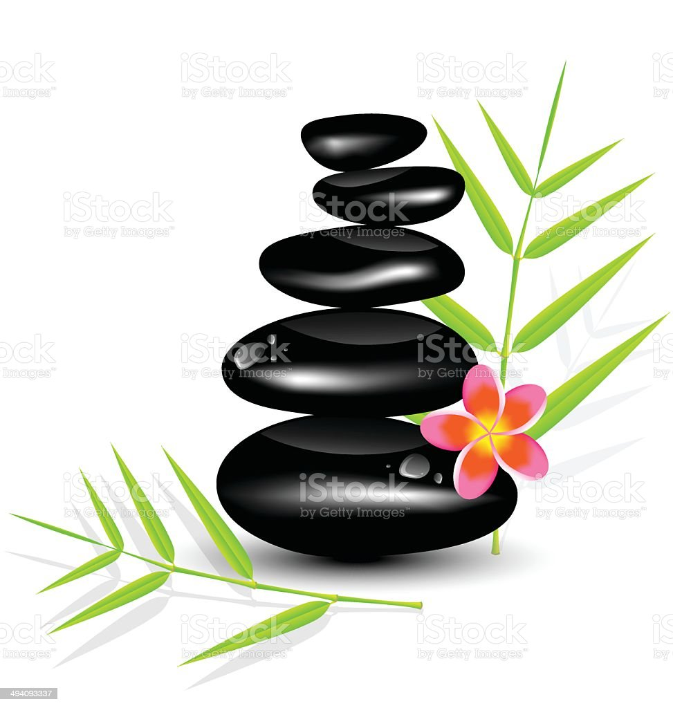 Hot Stone Massages and bamboo leaf vector art illustration